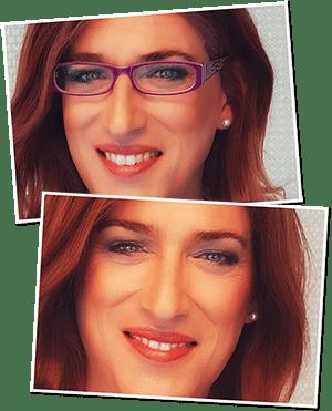 Annica Springmann mit Brille und mit Kontaktlinsen